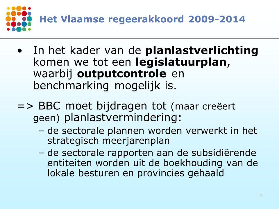 9 Het Vlaamse regeerakkoord 2009-2014 In het kader van de planlastverlichting komen we tot een legislatuurplan, waarbij outputcontrole en benchmarking
