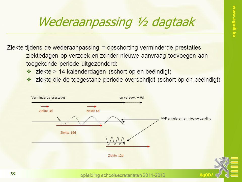 www.agodi.be AgODi opleiding schoolsecretariaten 2011-2012 39 Ziekte tijdens de wederaanpassing = opschorting verminderde prestaties ziektedagen op ve