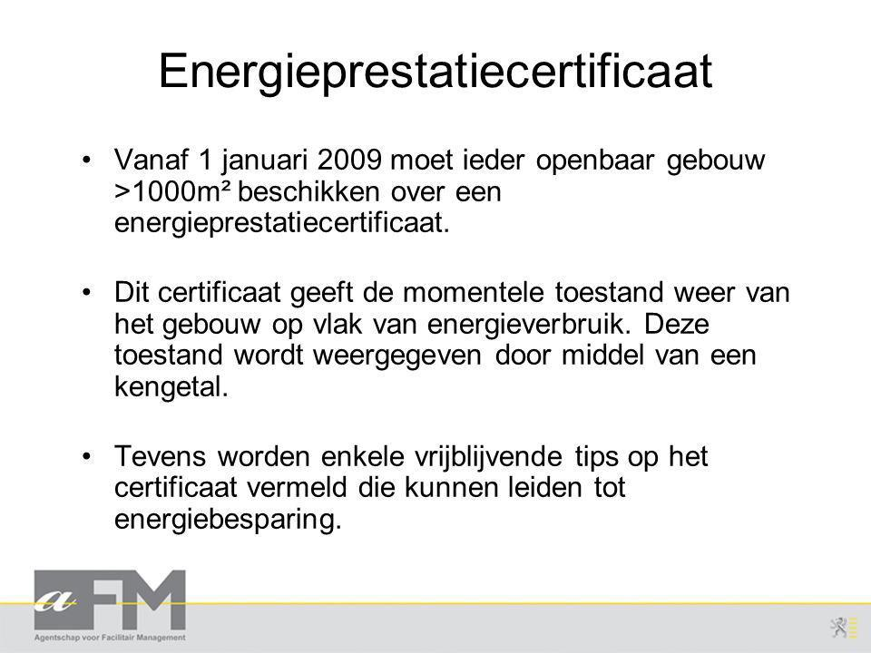 Energieprestatiecertificaat Vanaf 1 januari 2009 moet ieder openbaar gebouw >1000m² beschikken over een energieprestatiecertificaat.