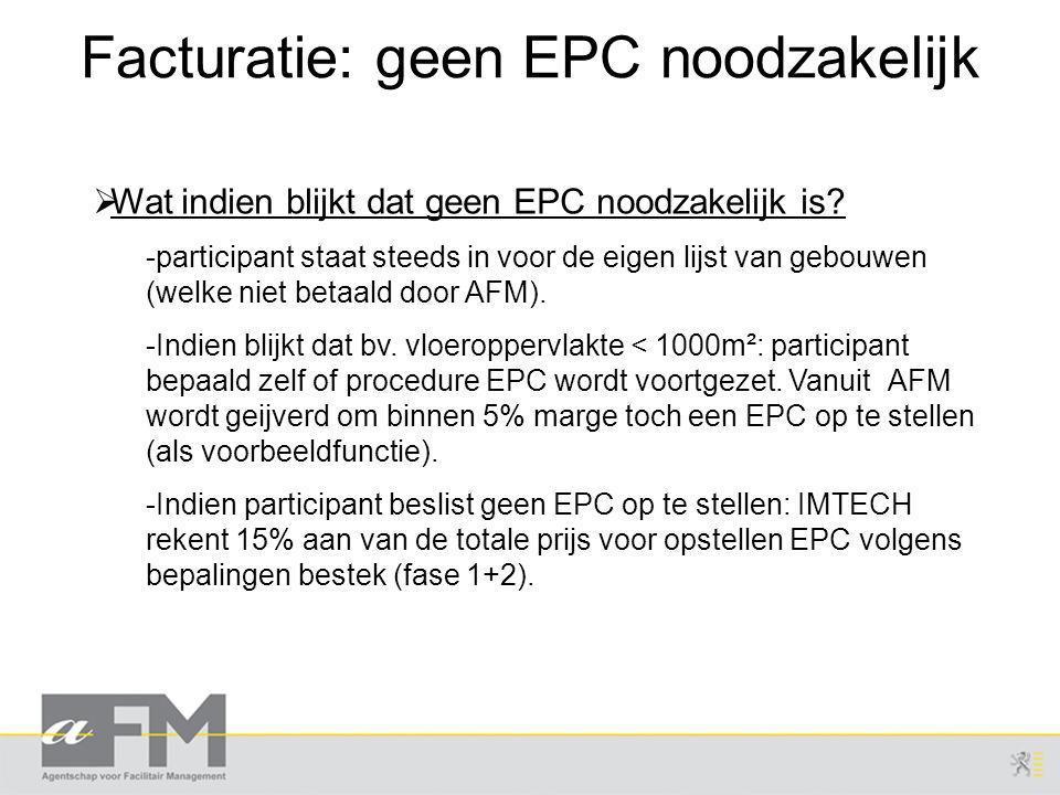 Facturatie: geen EPC noodzakelijk  Wat indien blijkt dat geen EPC noodzakelijk is.