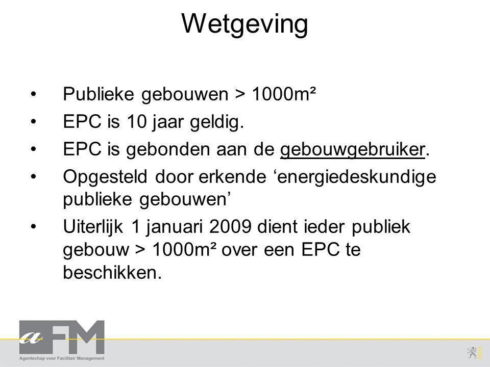 Wetgeving Publieke gebouwen > 1000m² EPC is 10 jaar geldig.