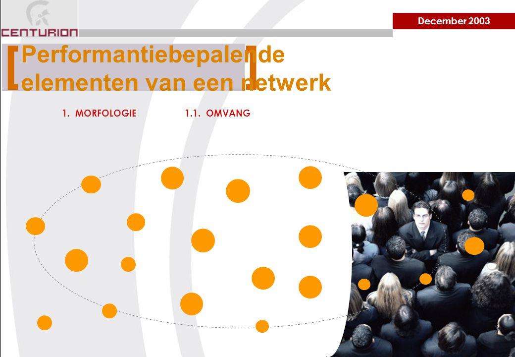 December 2003 1. MORFOLOGIE1.1. OMVANG [ ] Performantiebepalende elementen van een netwerk