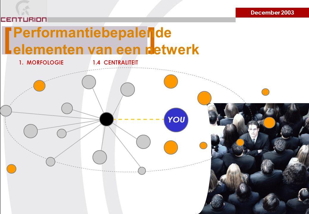 December 2003 1. MORFOLOGIE1.4 CENTRALITEIT [ ] Performantiebepalende elementen van een netwerk YOU