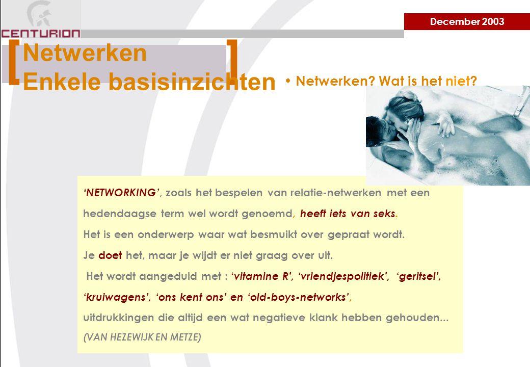 December 2003 'NETWORKING', zoals het bespelen van relatie-netwerken met een hedendaagse term wel wordt genoemd, heeft iets van seks.