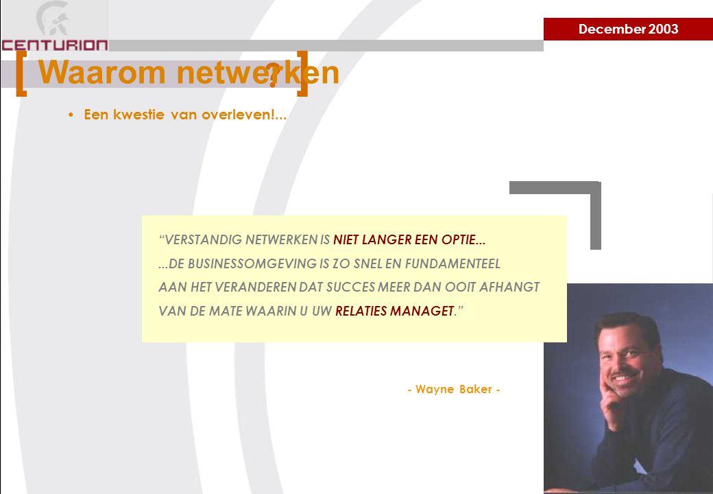 December 2003 Een kwestie van overleven!...