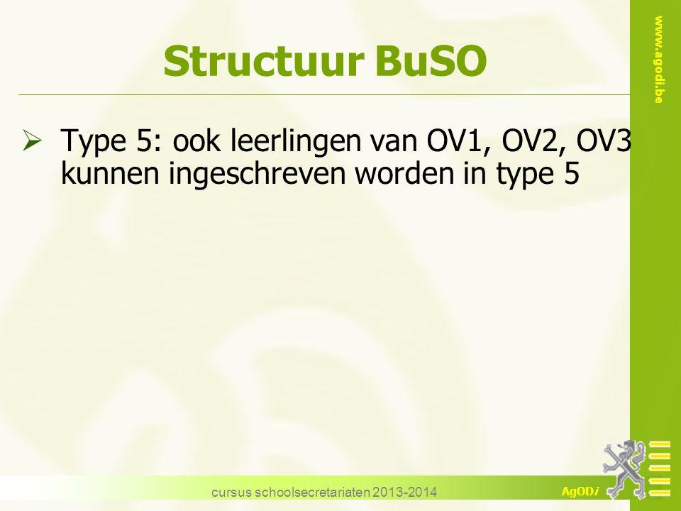 www.agodi.be AgODi cursus schoolsecretariaten 2013-2014 Structuur BuSO  Type 5: ook leerlingen van OV1, OV2, OV3 kunnen ingeschreven worden in type 5