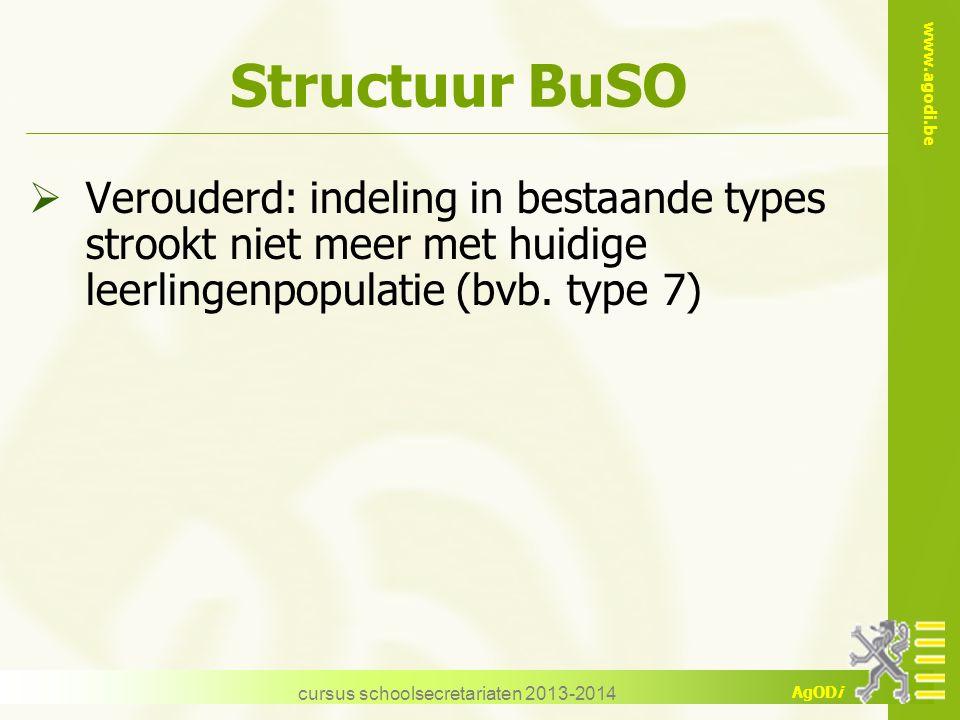www.agodi.be AgODi cursus schoolsecretariaten 2013-2014 Structuur BuSO  Verouderd: indeling in bestaande types strookt niet meer met huidige leerling