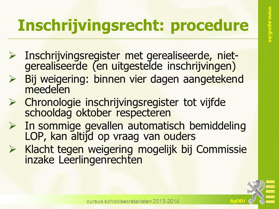www.agodi.be AgODi Inschrijvingsrecht: procedure  Inschrijvingsregister met gerealiseerde, niet- gerealiseerde (en uitgestelde inschrijvingen)  Bij
