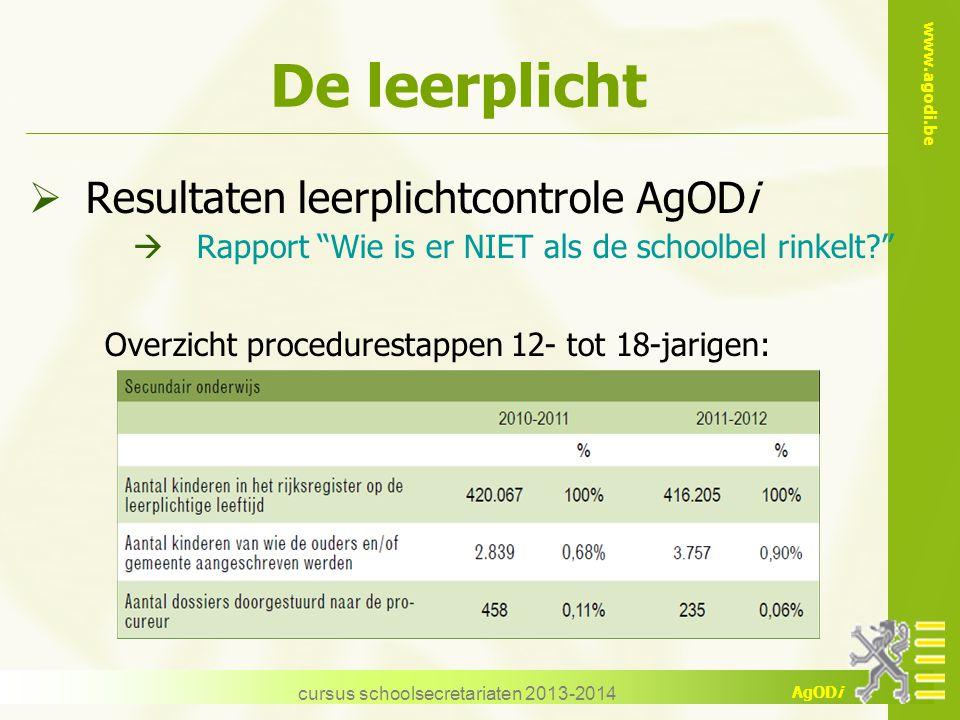 "www.agodi.be AgODi De leerplicht  Resultaten leerplichtcontrole AgODi  Rapport ""Wie is er NIET als de schoolbel rinkelt?"" Overzicht procedurestappen"