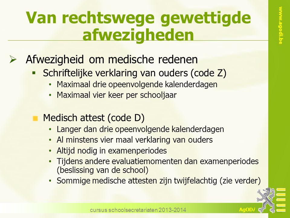 www.agodi.be AgODi Van rechtswege gewettigde afwezigheden  Afwezigheid om medische redenen  Schriftelijke verklaring van ouders (code Z) Maximaal dr