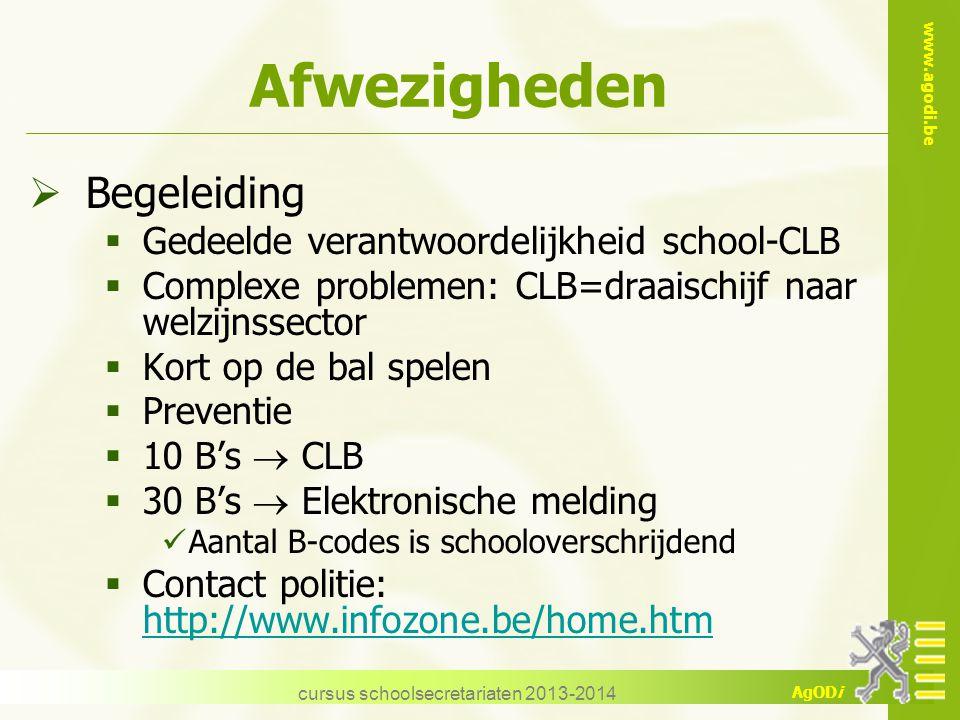 www.agodi.be AgODi cursus schoolsecretariaten 2013-2014 Afwezigheden  Begeleiding  Gedeelde verantwoordelijkheid school-CLB  Complexe problemen: CL