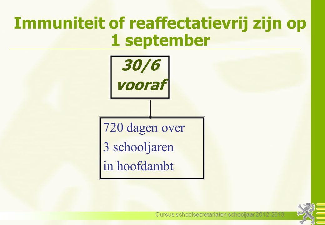 Cursus schoolsecretariaten schooljaar 2012-2013 Immuniteit of reaffectatievrij zijn op 1 september 30/6 vooraf 720 dagen over 3 schooljaren in hoofdam