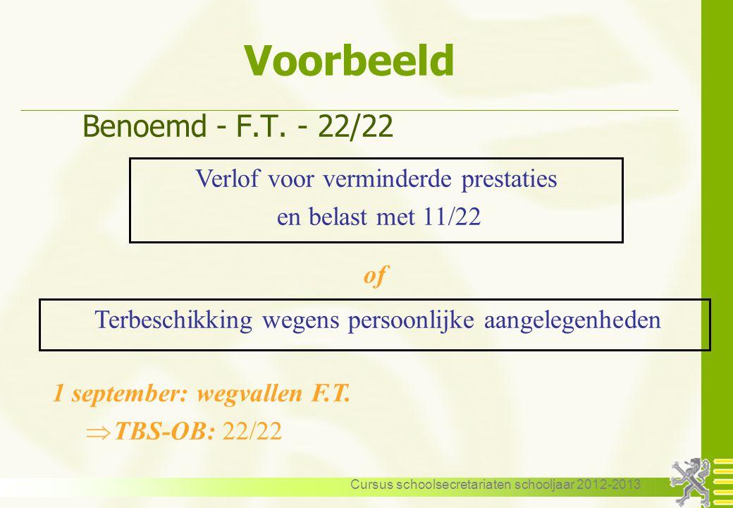 Cursus schoolsecretariaten schooljaar 2012-2013 Voorbeeld Benoemd - F.T. - 22/22 Verlof voor verminderde prestaties en belast met 11/22 1 september: w