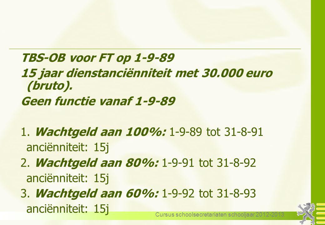 Cursus schoolsecretariaten schooljaar 2012-2013 TBS-OB voor FT op 1-9-89 15 jaar dienstanciënniteit met 30.000 euro (bruto). Geen functie vanaf 1-9-89