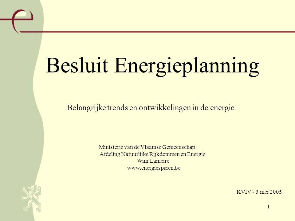 1 Besluit Energieplanning Ministerie van de Vlaamse Gemeenschap Afdeling Natuurlijke Rijkdommen en Energie Wim Lameire www.energiesparen.be Belangrijke trends en ontwikkelingen in de energie KVIV - 3 mei 2005