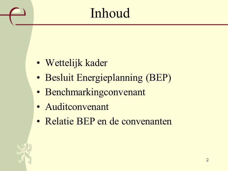 2 Inhoud Wettelijk kader Besluit Energieplanning (BEP) Benchmarkingconvenant Auditconvenant Relatie BEP en de convenanten