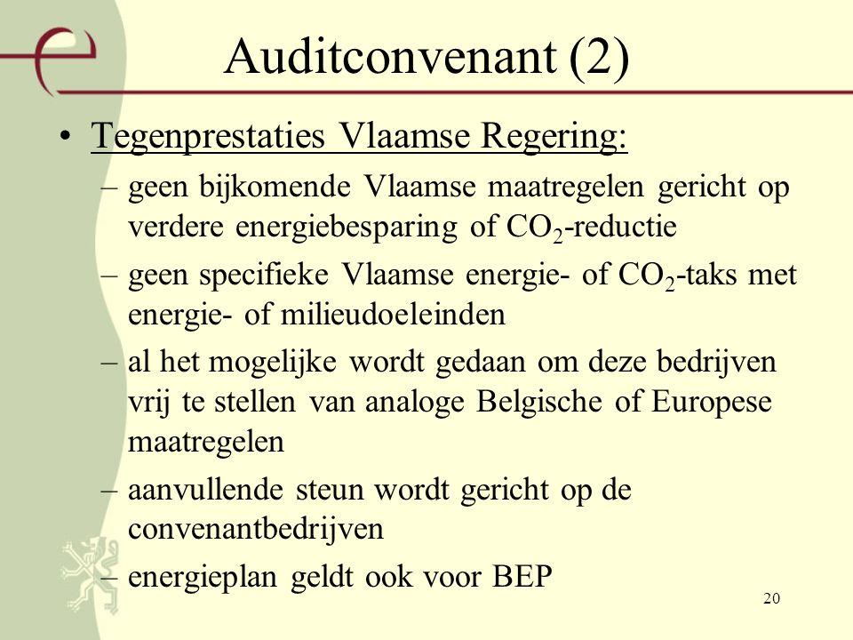 20 Auditconvenant (2) Tegenprestaties Vlaamse Regering: –geen bijkomende Vlaamse maatregelen gericht op verdere energiebesparing of CO 2 -reductie –geen specifieke Vlaamse energie- of CO 2 -taks met energie- of milieudoeleinden –al het mogelijke wordt gedaan om deze bedrijven vrij te stellen van analoge Belgische of Europese maatregelen –aanvullende steun wordt gericht op de convenantbedrijven –energieplan geldt ook voor BEP