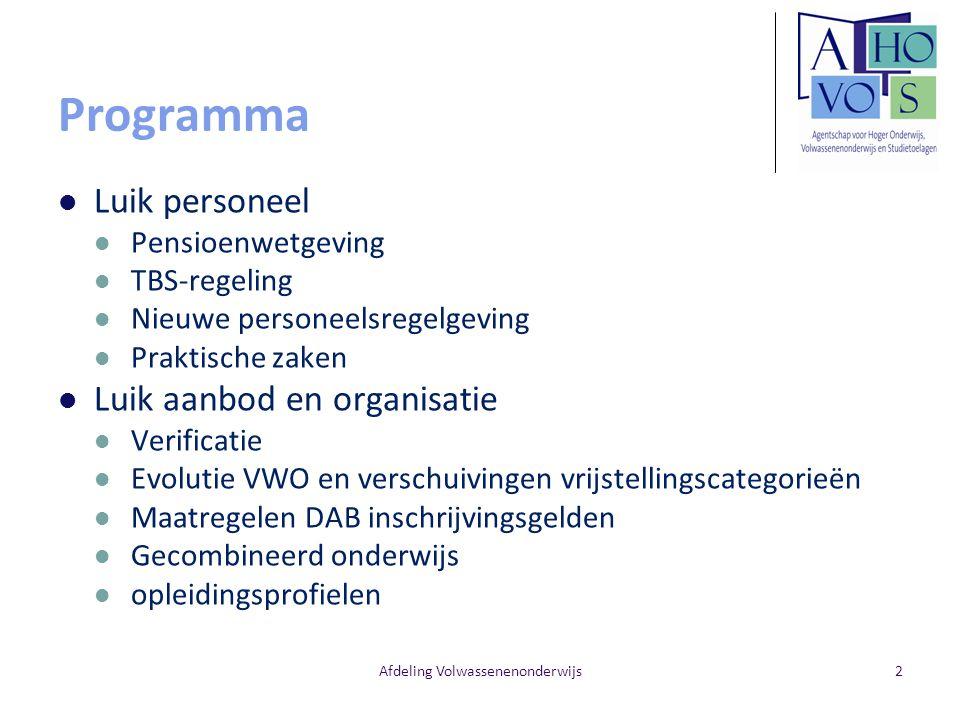Programma Luik personeel Pensioenwetgeving TBS-regeling Nieuwe personeelsregelgeving Praktische zaken Luik aanbod en organisatie Verificatie Evolutie