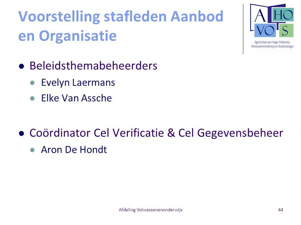 Voorstelling stafleden Aanbod en Organisatie Afdeling Volwassenenonderwijs Beleidsthemabeheerders Evelyn Laermans Elke Van Assche Coördinator Cel Veri