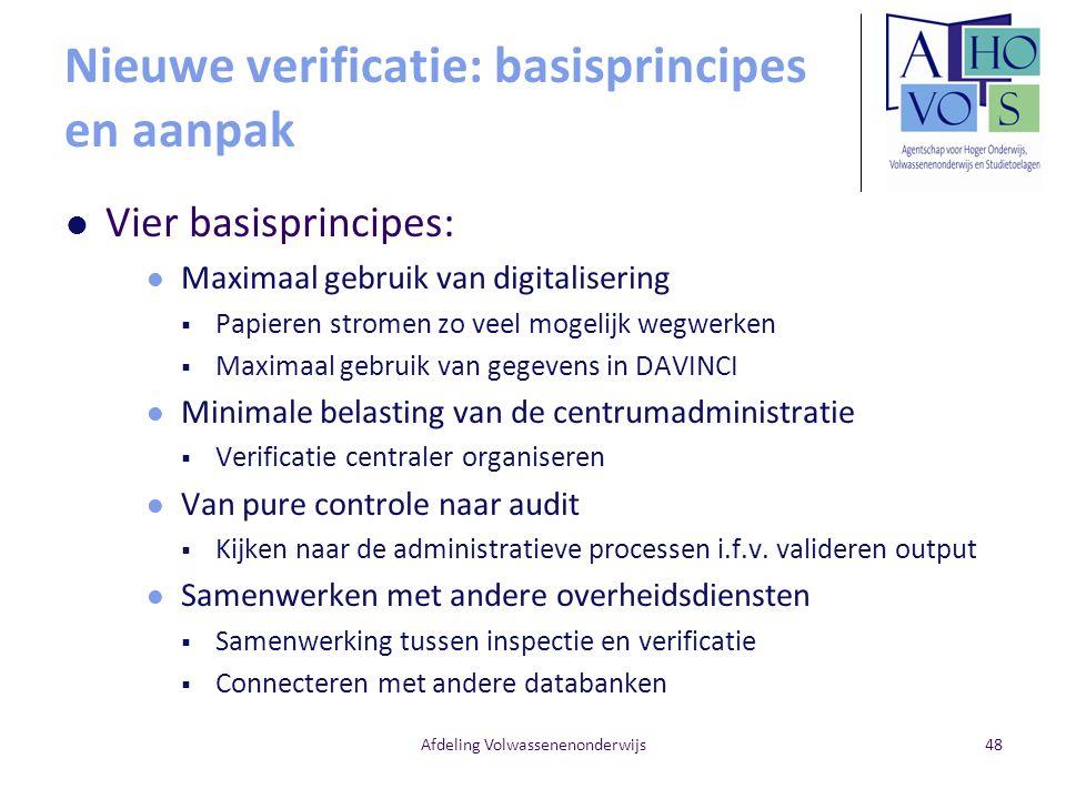 Nieuwe verificatie: basisprincipes en aanpak Vier basisprincipes: Maximaal gebruik van digitalisering  Papieren stromen zo veel mogelijk wegwerken 