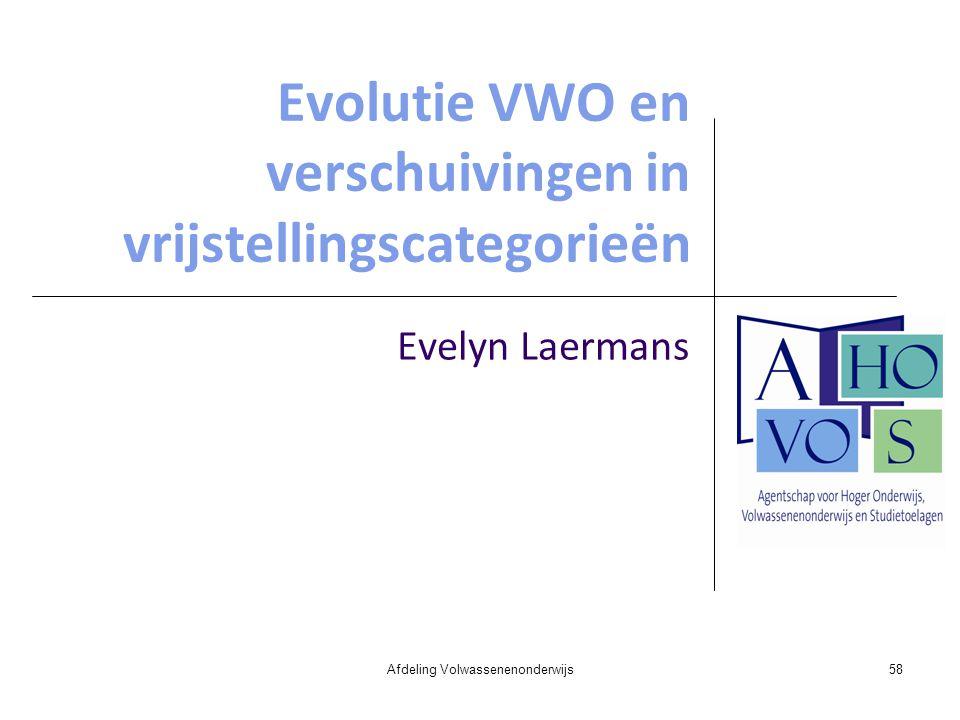 Evolutie VWO en verschuivingen in vrijstellingscategorieën Evelyn Laermans Afdeling Volwassenenonderwijs58