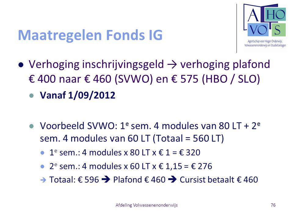 Maatregelen Fonds IG Verhoging inschrijvingsgeld → verhoging plafond € 400 naar € 460 (SVWO) en € 575 (HBO / SLO) Vanaf 1/09/2012 Voorbeeld SVWO: 1 e sem.