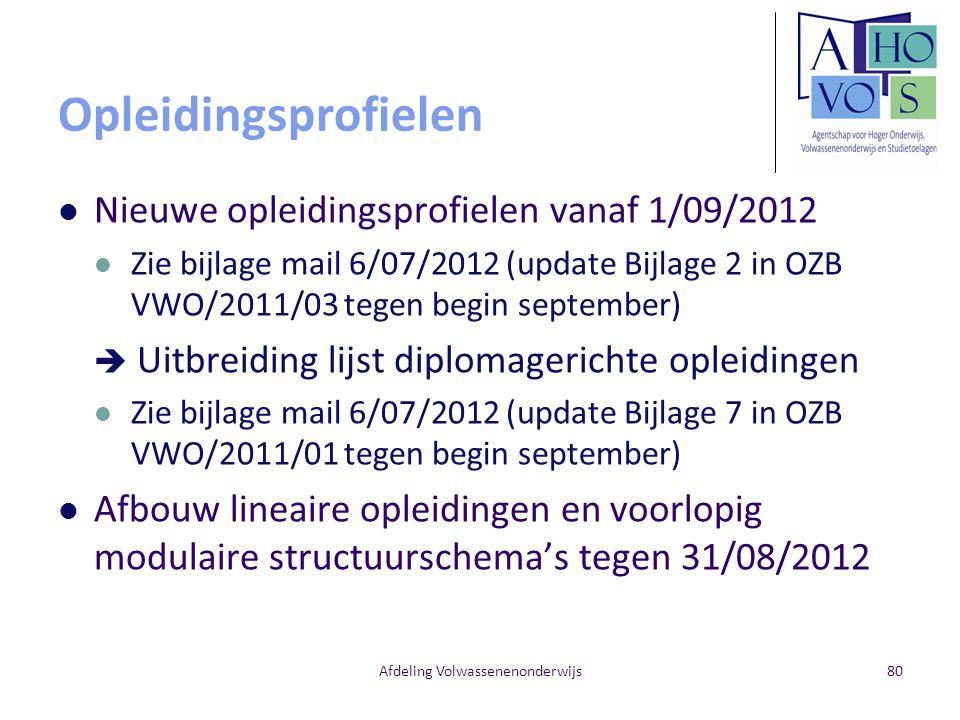 Opleidingsprofielen Nieuwe opleidingsprofielen vanaf 1/09/2012 Zie bijlage mail 6/07/2012 (update Bijlage 2 in OZB VWO/2011/03 tegen begin september)