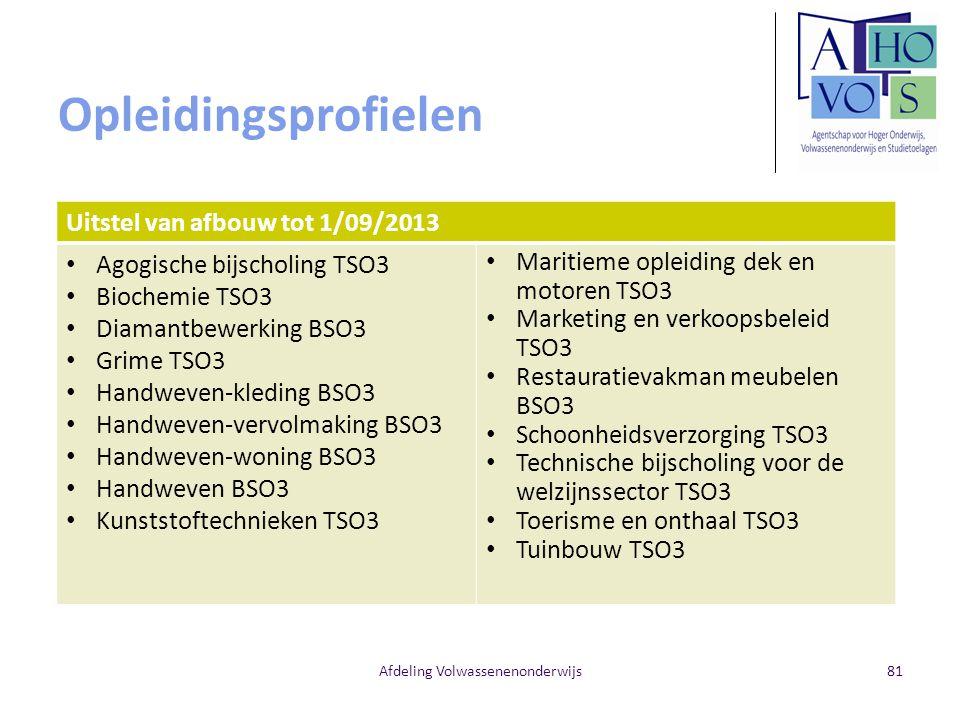 Opleidingsprofielen Uitstel van afbouw tot 1/09/2013 Agogische bijscholing TSO3 Biochemie TSO3 Diamantbewerking BSO3 Grime TSO3 Handweven-kleding BSO3 Handweven-vervolmaking BSO3 Handweven-woning BSO3 Handweven BSO3 Kunststoftechnieken TSO3 Maritieme opleiding dek en motoren TSO3 Marketing en verkoopsbeleid TSO3 Restauratievakman meubelen BSO3 Schoonheidsverzorging TSO3 Technische bijscholing voor de welzijnssector TSO3 Toerisme en onthaal TSO3 Tuinbouw TSO3 Afdeling Volwassenenonderwijs81