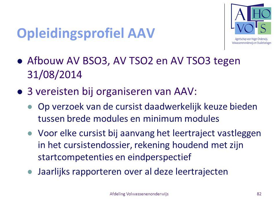 Opleidingsprofiel AAV Afbouw AV BSO3, AV TSO2 en AV TSO3 tegen 31/08/2014 3 vereisten bij organiseren van AAV: Op verzoek van de cursist daadwerkelijk