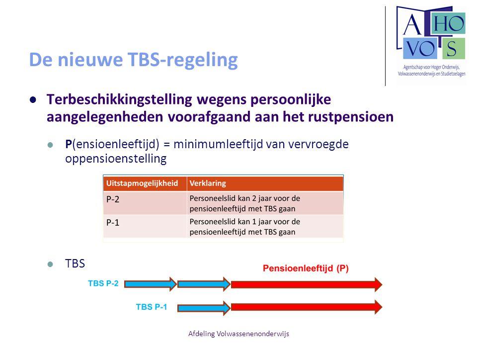 Afdeling Volwassenenonderwijs De nieuwe TBS-regeling Terbeschikkingstelling wegens persoonlijke aangelegenheden voorafgaand aan het rustpensioen P(ens