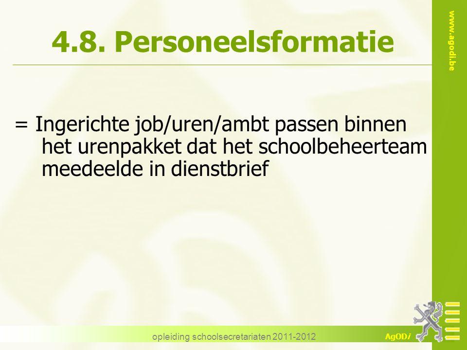 www.agodi.be AgODi opleiding schoolsecretariaten 2011-2012 4.8. Personeelsformatie = Ingerichte job/uren/ambt passen binnen het urenpakket dat het sch