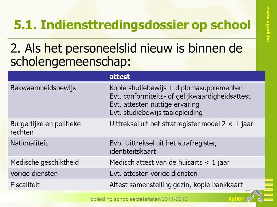 www.agodi.be AgODi opleiding schoolsecretariaten 2011-2012 5.1. Indiensttredingsdossier op school 2. Als het personeelslid nieuw is binnen de scholeng