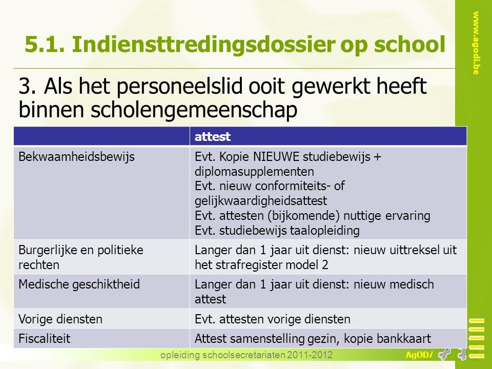 www.agodi.be AgODi opleiding schoolsecretariaten 2011-2012 5.1. Indiensttredingsdossier op school 3. Als het personeelslid ooit gewerkt heeft binnen s
