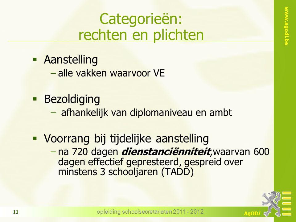 www.agodi.be AgODi opleiding schoolsecretariaten 2011 - 2012 11 Categorieën: rechten en plichten  Aanstelling −alle vakken waarvoor VE  Bezoldiging