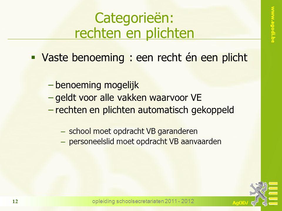 www.agodi.be AgODi opleiding schoolsecretariaten 2011 - 2012 12 Categorieën: rechten en plichten  Vaste benoeming : een recht én een plicht −benoemin