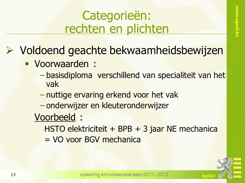 www.agodi.be AgODi opleiding schoolsecretariaten 2011 - 2012 13 Categorieën: rechten en plichten  Voldoend geachte bekwaamheidsbewijzen  Voorwaarden