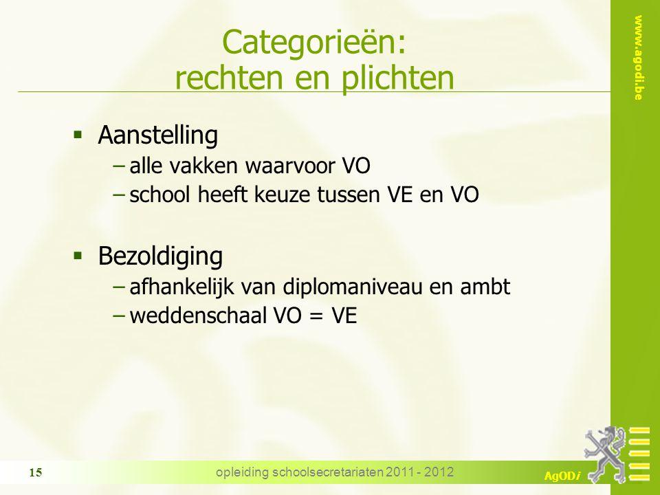 www.agodi.be AgODi opleiding schoolsecretariaten 2011 - 2012 15 Categorieën: rechten en plichten  Aanstelling −alle vakken waarvoor VO −school heeft