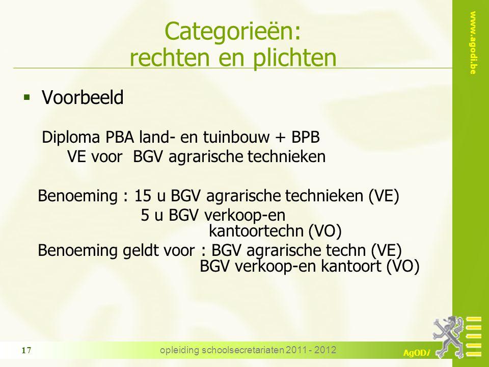 www.agodi.be AgODi opleiding schoolsecretariaten 2011 - 2012 17 Categorieën: rechten en plichten  Voorbeeld Diploma PBA land- en tuinbouw + BPB VE vo