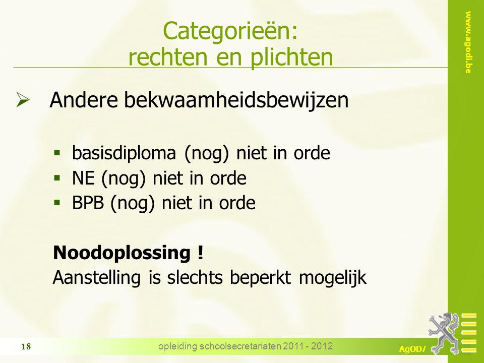www.agodi.be AgODi opleiding schoolsecretariaten 2011 - 2012 18 Categorieën: rechten en plichten  Andere bekwaamheidsbewijzen  basisdiploma (nog) ni