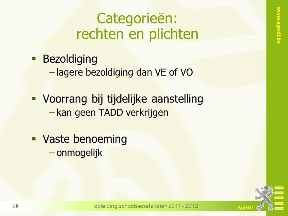 www.agodi.be AgODi opleiding schoolsecretariaten 2011 - 2012 19 Categorieën: rechten en plichten  Bezoldiging −lagere bezoldiging dan VE of VO  Voor