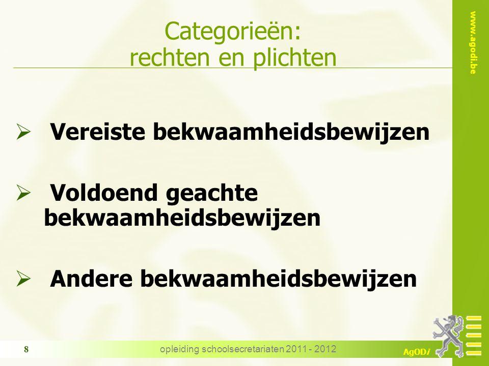 www.agodi.be AgODi opleiding schoolsecretariaten 2011 - 2012 8 Categorieën: rechten en plichten  Vereiste bekwaamheidsbewijzen  Voldoend geachte bek