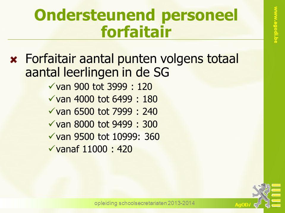 www.agodi.be AgODi Ondersteunend personeel forfaitair Forfaitair aantal punten volgens totaal aantal leerlingen in de SG van 900 tot 3999 : 120 van 40