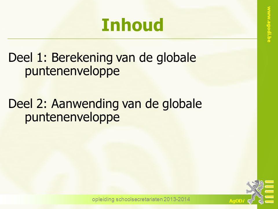 www.agodi.be AgODi opleiding schoolsecretariaten 2013-2014 Inhoud Deel 1: Berekening van de globale puntenenveloppe Deel 2: Aanwending van de globale