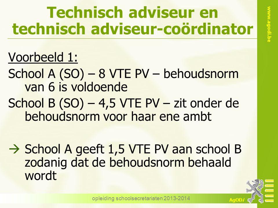 www.agodi.be AgODi Technisch adviseur en technisch adviseur-coördinator Voorbeeld 1: School A (SO) – 8 VTE PV – behoudsnorm van 6 is voldoende School