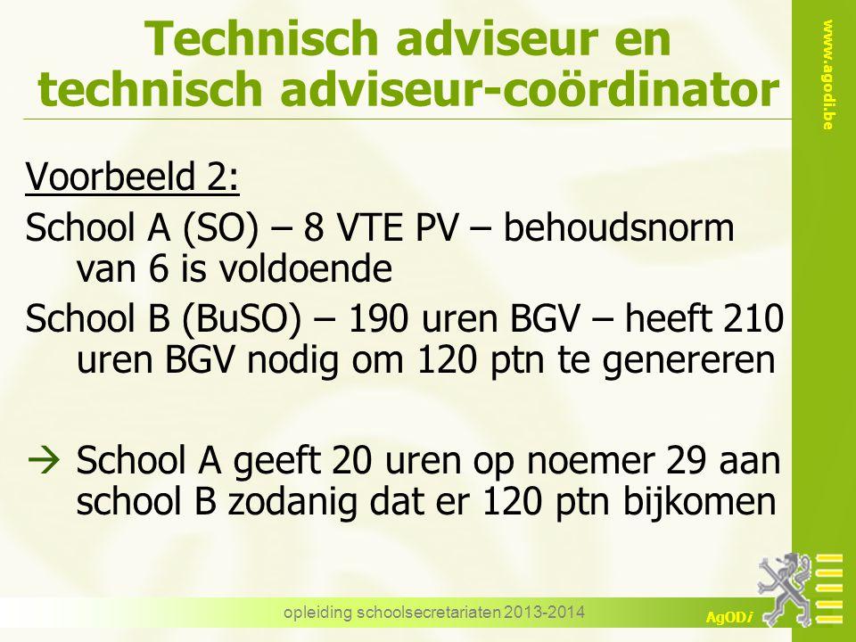 www.agodi.be AgODi Technisch adviseur en technisch adviseur-coördinator Voorbeeld 2: School A (SO) – 8 VTE PV – behoudsnorm van 6 is voldoende School