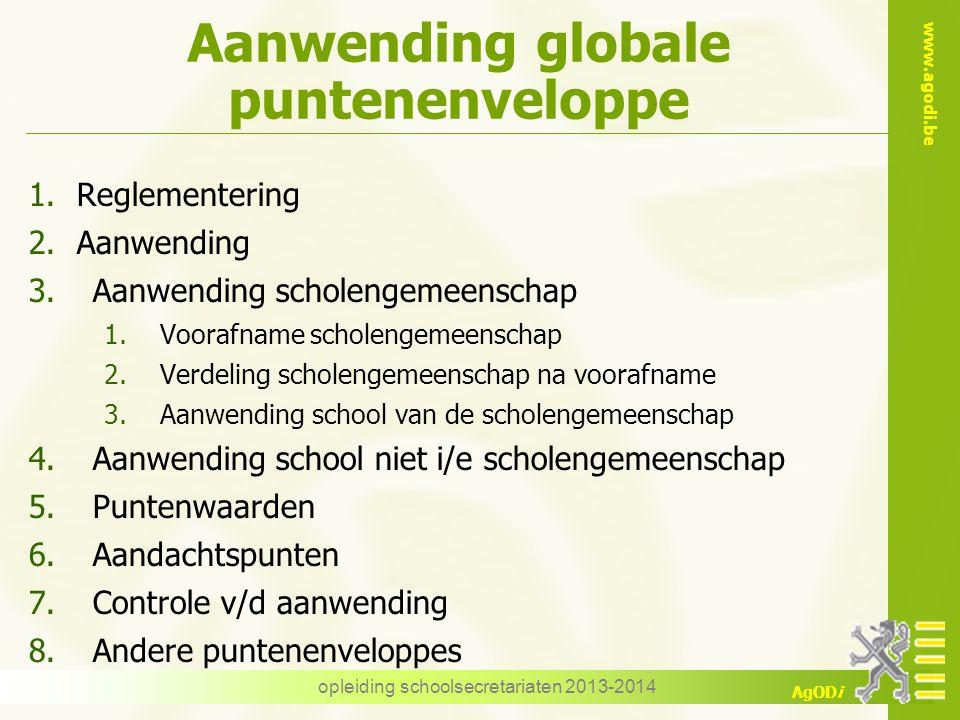 www.agodi.be AgODi Aanwending globale puntenenveloppe 1.Reglementering 2.Aanwending 3.Aanwending scholengemeenschap 1.Voorafname scholengemeenschap 2.
