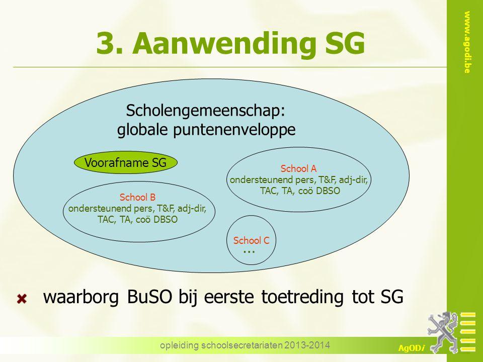 www.agodi.be AgODi 3. Aanwending SG waarborg BuSO bij eerste toetreding tot SG opleiding schoolsecretariaten 2013-2014 Scholengemeenschap: globale pun