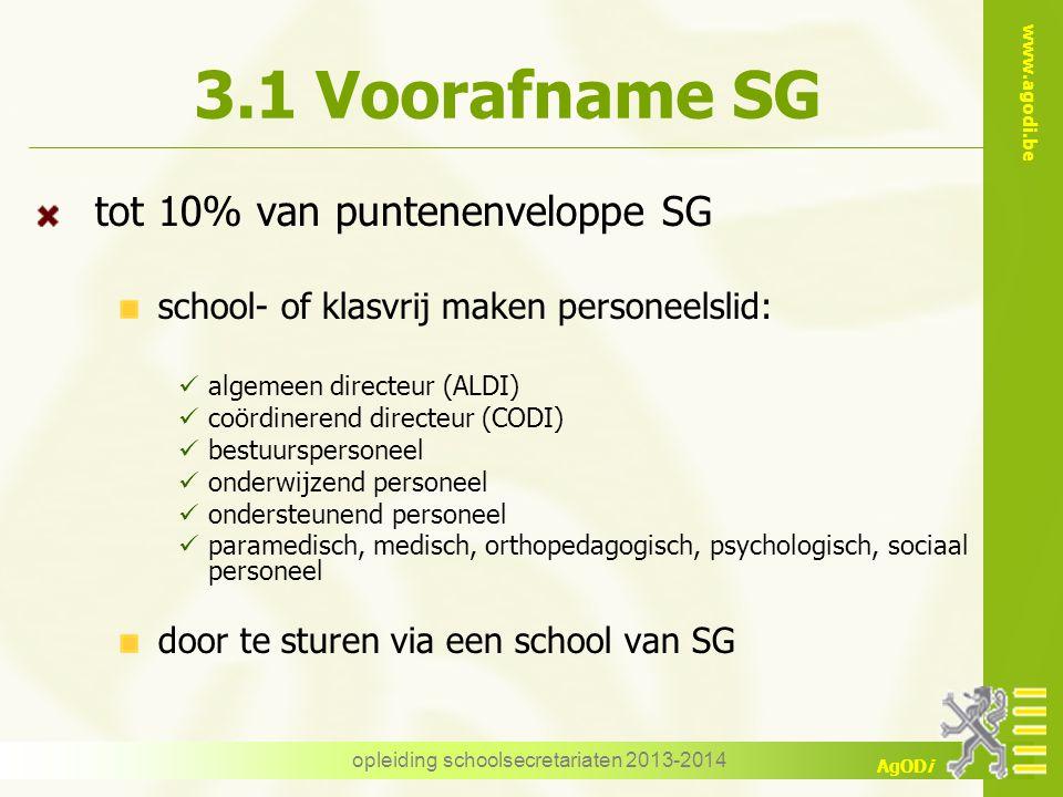 www.agodi.be AgODi 3.1 Voorafname SG tot 10% van puntenenveloppe SG school- of klasvrij maken personeelslid: algemeen directeur (ALDI) coördinerend di