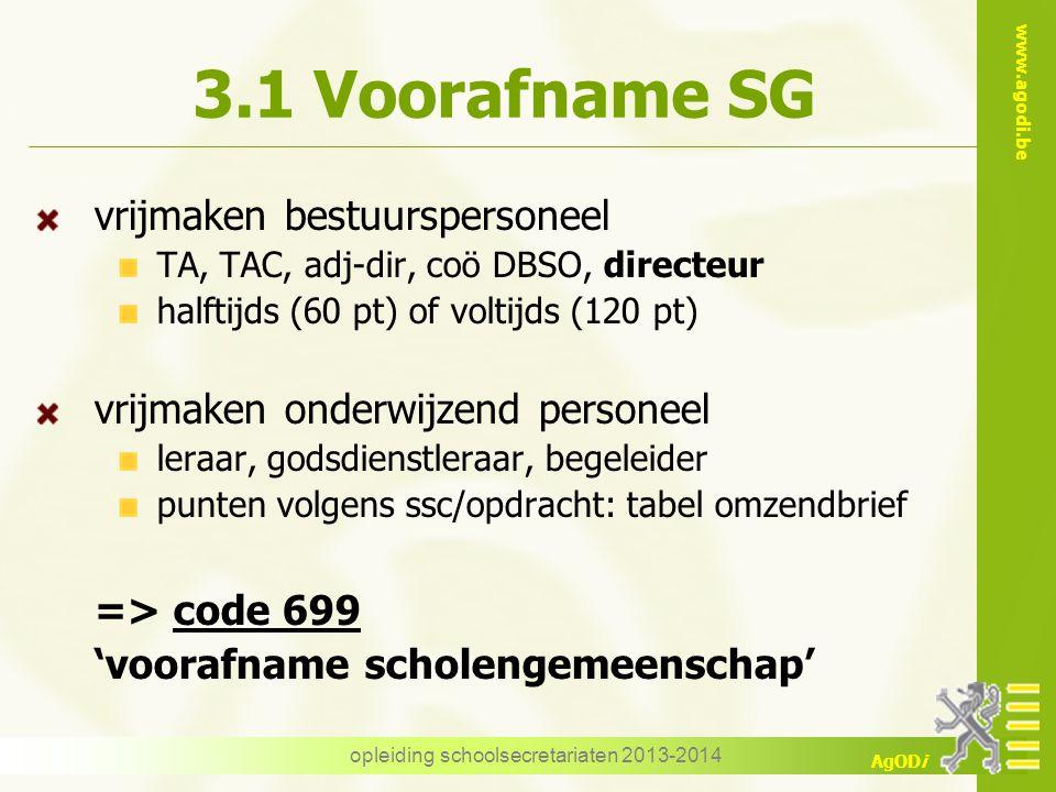 www.agodi.be AgODi 3.1 Voorafname SG vrijmaken bestuurspersoneel TA, TAC, adj-dir, coö DBSO, directeur halftijds (60 pt) of voltijds (120 pt) vrijmake