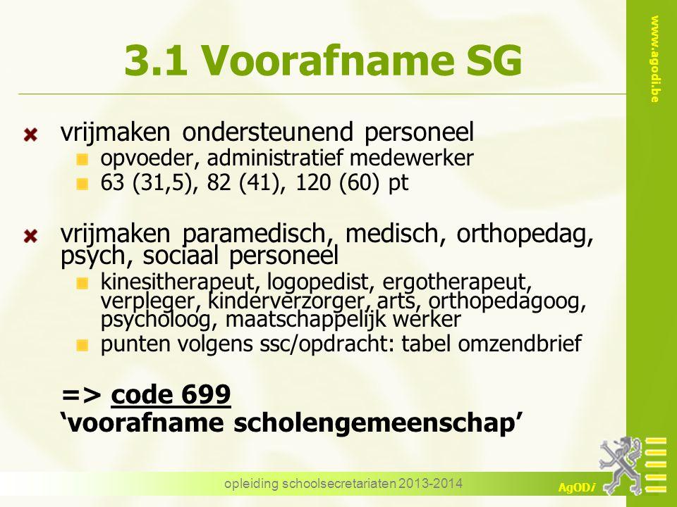 www.agodi.be AgODi 3.1 Voorafname SG vrijmaken ondersteunend personeel opvoeder, administratief medewerker 63 (31,5), 82 (41), 120 (60) pt vrijmaken p